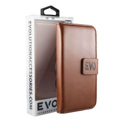EVOLUTION Brown Book Case For iPhone  6 Plus and 6S Plus